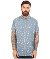 Rvca Daised Short Sleeve Woven Dark Denim Men's Short Sleeve Button Up Navy