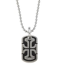 Saks Fifth Avenue Stainless Steel Cross Dog Tag Pendant Necklace Black