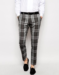Selected Tartan Suit Trousers Greyblack