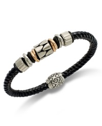Macy's Men's Stainless Steel And Black Rubber Bracelet Beaded Bracelet