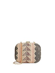 Franchi Woven Pattern Straw Convertible Clutch Natural