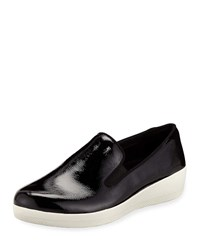 Fitflop Superskate Patent Platform Sneakers Black White