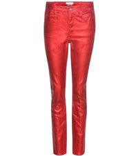 Etoile Isabel Marant Ellos Metallic High Rise Jeans Red