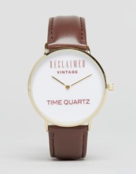 Reclaimed Vintage Logo Leather Watch In Brown Brown