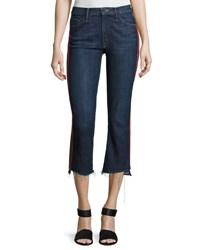 Mother Insider Crop Track Stripe Jeans With Step Hem Blue Red Blue Red