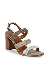 Frye Amy Braided Slingback Sandals White Multi