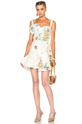 Alexander Mcqueen Leather Ruffle Dress In Blue Floral White Blue Floral White
