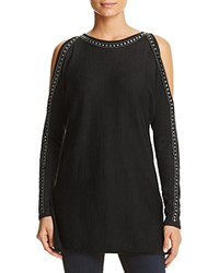 Design History Studded Cold Shoulder Knit Tunic Onyx