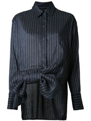 Victoria Beckham Striped Bow Shirt Blue