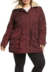 Andrew Marc New York Plus Size Nandie Hooded Parka Burgundy