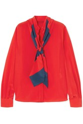 Givenchy Pussy Bow Silk Crepe De Chine Blouse Red Gbp