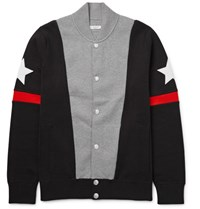 Givenchy Slim Fit Appliqued Colour Block Stretch Cotton Blend Bomber Jacket Gray