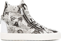 Giuseppe Zanotti White And Black Python High Top Sneakers