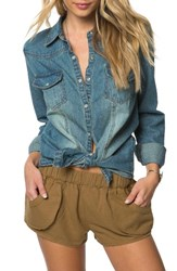 O'neill Women's July Embroidered Denim Shirt Chambray