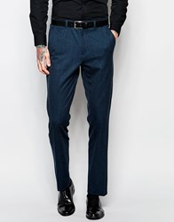 Asos Slim Suit Trousers With Tipping In Deep Teal Grey