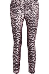 Haider Ackermann Grosgrain Trimmed Silk Blend Jacquard And Leather Skinny Pants Leopard Print