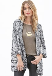Forever 21 Contemporary Marled Striped Knit Cardigan Black White