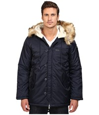 Members Only Military Long Hooded Parka With Fishtail Navy Men's Coat
