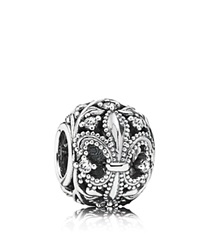 Pandora Design Pandora Charm Sterling Silver And Cubic Zirconia Fleur De Lis Moments Collection Clear Silver