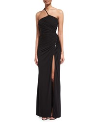 Versace One Shoulder Ruched Jersey Gown Black Women's Size 52