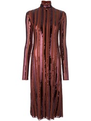 Nina Ricci Sequin Embellished Turtleneck Dress Brown