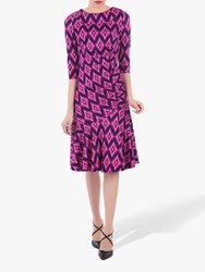 Jolie Moi Roll Collar Retro Ruched Shift Dress Pink Multi