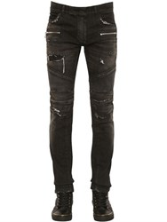 Balmain 16.5Cm Biker Stretch Denim Jeans