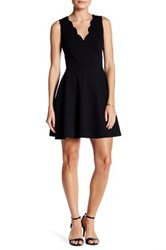 Love Ady Scalloped V Neck Mini Fit And Flare Dress Black