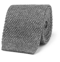 Loro Piana 6Cm Knitted Cashmere And Silk Blend Tie Gray