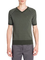 Emporio Armani Jacquard Retro Diamond Knit Tee Green