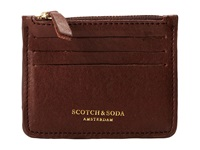 Scotch And Soda Leather Credit Card Holder With Zip Brown Credit Card Wallet