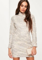 Missguided Grey Sequin Lace Bodycon Dress