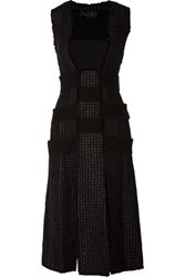 Proenza Schouler Paneled Boucle Tweed And Crepe Dress Black