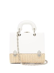 Rodo Sixty Six Small Wicker And Leather Box Bag White Multi