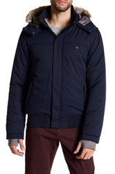 Bench Thought Faux Fur Trimmed Zip Jacket Blue