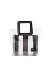Staud Shirley Mini Pvc And Leather Tote Black White