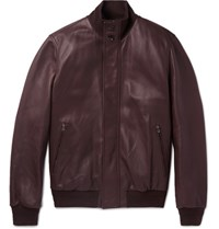 Ermenegildo Zegna Leather Bomber Jacket Merlot