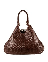 Cole Haan Genevieve Leather Triangle Tote Chocolate