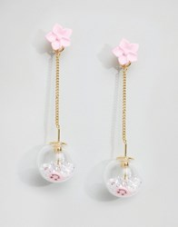 Asos Limited Edition Happy Ball Strand Earrings Pink Gold