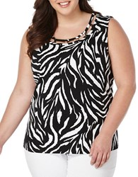 Rafaella Plus Plus Plus Zebra Print Knit Tank Top Black