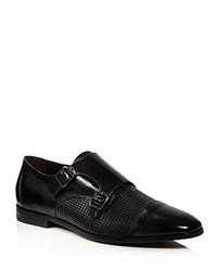Canali Printed Double Monk Loafers Black