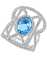 Effy Collection Effy Blue Topaz 2 7 8 Ct. T.W. And Diamond 1 Ct. T.W. Geometric Ring In 14K White Gold