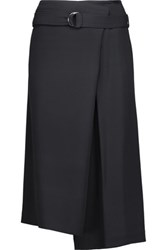 Brunello Cucinelli Belted Crepe Midi Skirt Midnight Blue