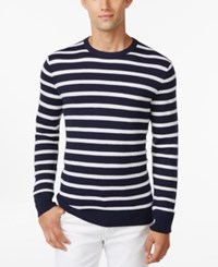 Club Room Texture Stripe Crew Neck Sweater Only At Macy's