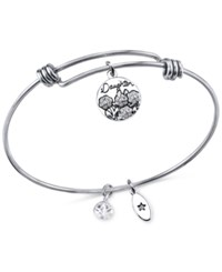 Unwritten Daughters Charm And Crystal Bangle Bracelet In Silver Plated Stainless Steel