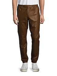 Ralph Lauren Solid Leather Pants Luggage