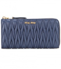 Miu Miu Matelasse Leather Wallet Blue