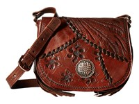 American West Soho Groove Saddle Flap Crossbody Chestnut Brown Cross Body Handbags