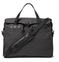 Filson Original Leather Trimmed Twill Briefcase Gray
