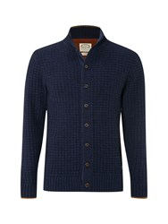White Stuff Men's Tambora Waffle Button Cardigan Navy